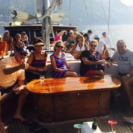 Aboard The 80 Foot Private Yacht With A Crew Of Three