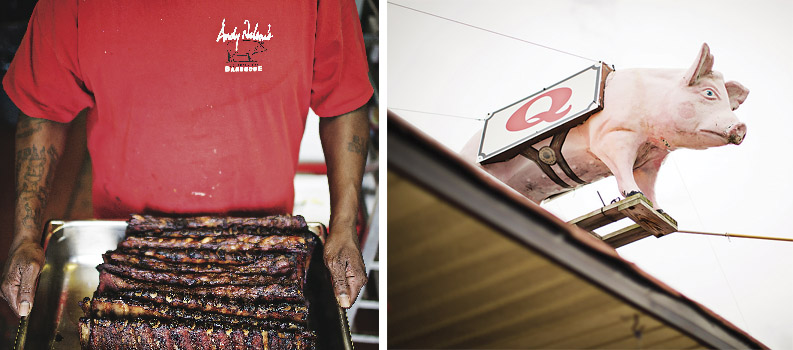 Andy Nelson's ribs and fiberglass pig.