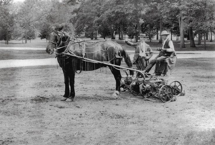 Clifton Park-horse drawn mower