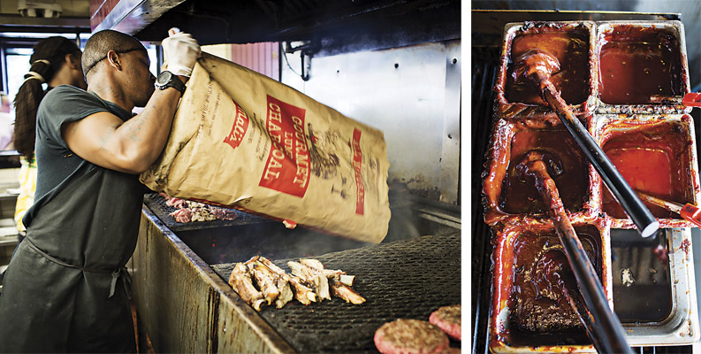 Grilling at Chap's Pit Beef, sauces at Big Bad Wolf's