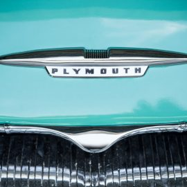 Hood ornament on 1955 Plymouth