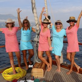 Mary  Ann And Tour Guests Pose On The Yacht