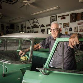 Puschert with his vintage car