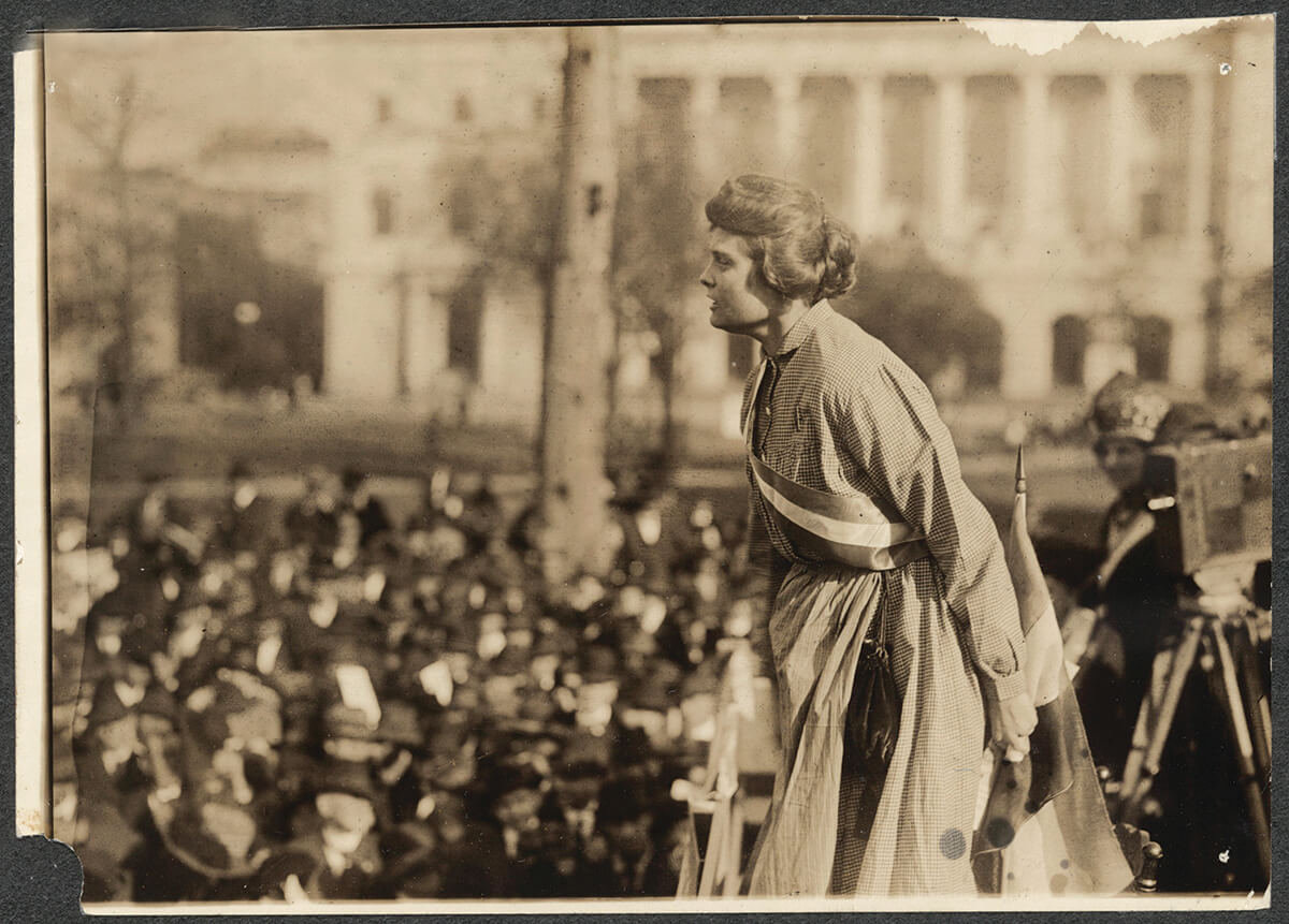 Baltimore suffragist Lucy Branham, in prison dress, speaking in 1919. —The Library of Congress